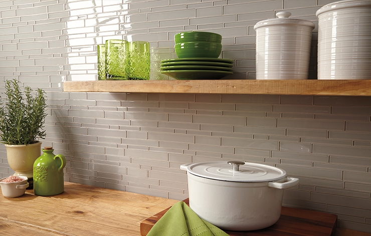 Grey Mosaic Daltile Kitchen Tile